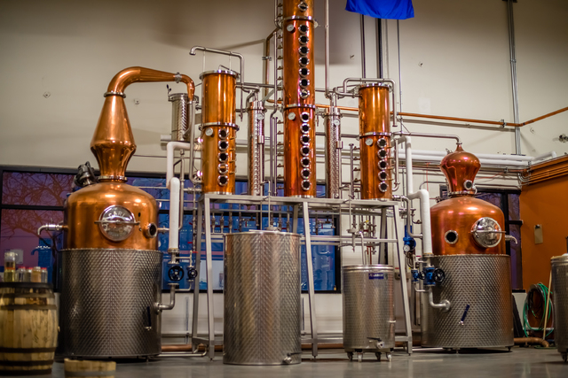 The Las Vegas Distillery, 7330 Eastgate Road, Suite 110, produces whiskey, vodka, gin, rum and moonshine in its two pot stills, dubbed the Las Vegas Copper Angels. The machinery was named for owne ...