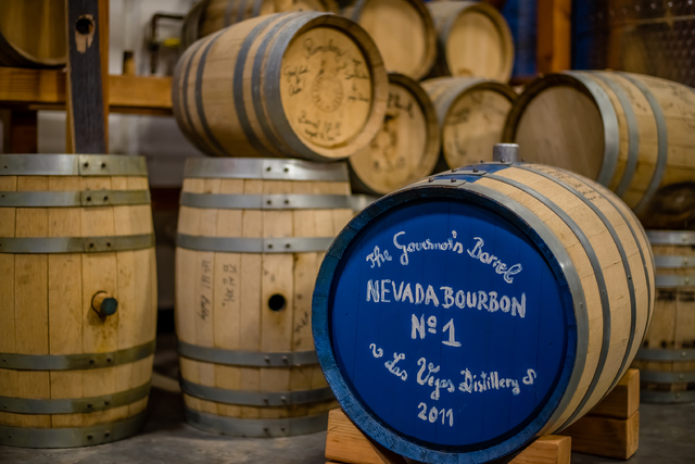 Gov. Brian Sandoval visited the Las Vegas Distillery, 7330 Eastgate Road, Suite 110, and signed a barrel of Nevada's first manufactured bourbon in 2011. The barrel was opened in June 2014 and bott ...