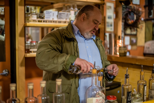 Owner George Racz serves tastings of alcohol during a tour Jan. 20, 2015, of the Las Vegas Distillery, 7330 Eastgate Road, Suite 110. (Fernando Lopez/Special to View) Click the image for more photos.