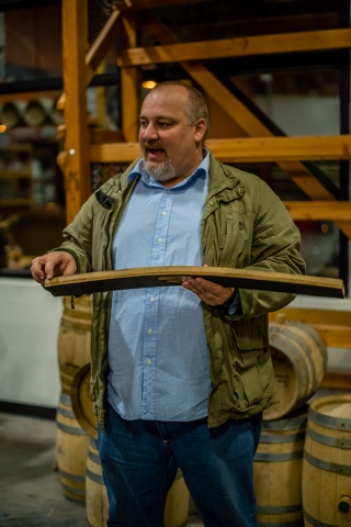 Owner George Racz explains how whiskey is barrel aged during a tour of the Las Vegas Distillery, 7330 Eastgate Road, Suite 110. (Fernando Lopez/Special to View)