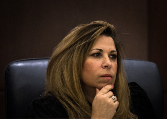 Nevada Court of Appeals Judge Abbi Silver listens during the first Court of Appeals hearing on Wednesday, March 25, 2015, at the Regional Justice Center, 200 Lewis Ave. The appeals court chose a p ...