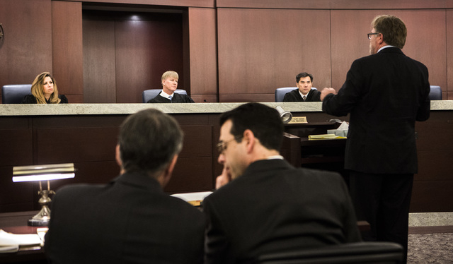 Nevada Court of Appeals Judges Abbi Silver, left,  Michael Gibbons and Jerome Tao listen during first Court of Appeals hearing on Wednesday, March 25, 2015, at Regional Justice Center, 200 Lewis A ...