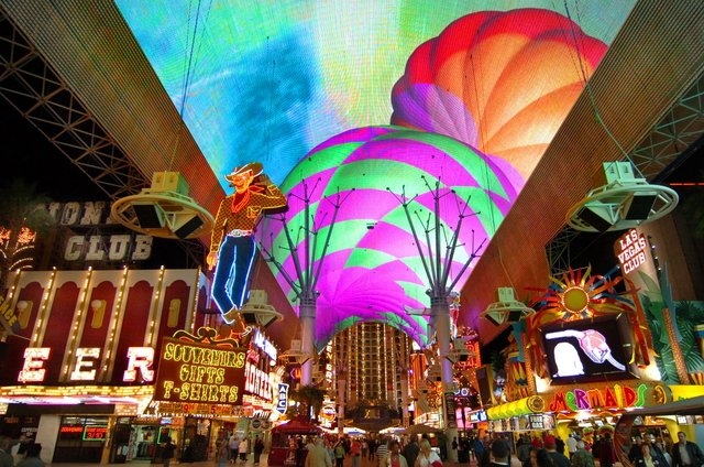 Under the Fremont Street Experience in downtown Las Vegas. (Courtesy)