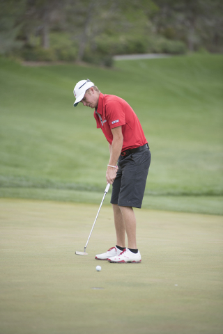 Redford Bobbitt of UNLV putts during the Southern Highlands Collegiate Masters Golf Tournament held at the Southern Highlands Golf Club in Las Vegas on Wednesday, March 11, 2015. (Martin S. Fuente ...