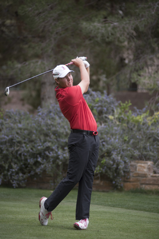 Chris Tuulik of UNLV tees off during the Southern Highlands Collegiate Masters Golf Tournament held at the Southern Highlands Golf Club in Las Vegas on Wednesday, March 11, 2015. (Martin S. Fuente ...