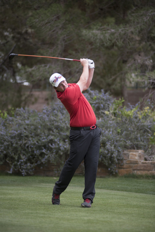 Ben Davis of UNLV tees off during the Southern Highlands Collegiate Masters Golf Tournament held at the Southern Highlands Golf Club in Las Vegas on Wednesday, March 11, 2015. (Martin S. Fuentes/L ...