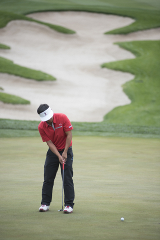 Kurt Kitayama of UNLV putts during the Southern Highlands Collegiate Masters Golf Tournament held at the Southern Highlands Golf Club in Las Vegas on Wednesday, March 11, 2015. (Martin S. Fuentes/ ...