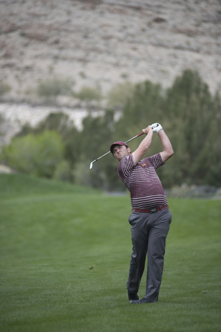 John Rahm of Arizona State swings for a shot during the Southern Highlands Collegiate Masters Golf Tournament held at the Southern Highlands Golf Club in Las Vegas on Wednesday, March 11, 2015. (M ...