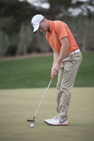 Brian Campbell of Illinois putts during the Southern Highlands Collegiate Masters Golf Tournament held at the Southern Highlands Golf Club in Las Vegas on Wednesday, March 11, 2015. (Martin S. Fue ...