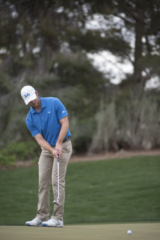 Matt Pinizzotto of UCLA putts during the Southern Highlands Collegiate Masters Golf Tournament held at the Southern Highlands Golf Club in Las Vegas on Wednesday, March 11, 2015. (Martin S. Fuente ...
