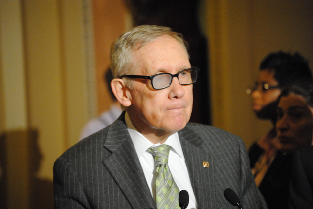 Senate Minority Leader Harry Reid of Nevada meets with reporters in the U.S. Capitol on March 17, 2015. (Peter Urban/Stephens Washington Bureau)
