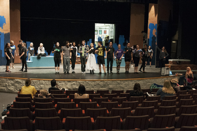 Students rehearse for the upcoming school play Mary Poppins at the Green Valley High School theater in Henderson, Nev., Friday, Jan 10, 2014. (Erik Verduzco/Las Vegas Review-Journal)