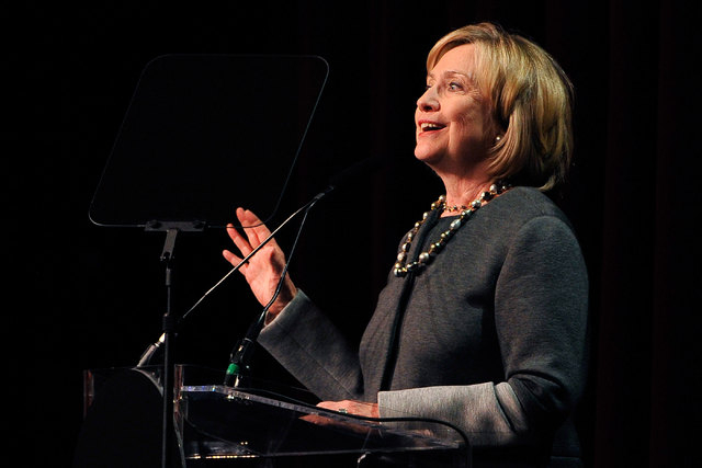 Former Secretary of State Hillary Clinton speaks during the 2014 UNLV Foundation Annual Dinner at the Bellagio on Oct. 13, 2014. Clinton is expected to announce this month if she plans to run for  ...
