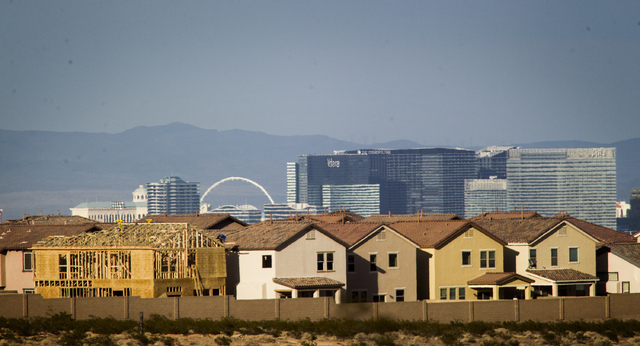 A development in southwest Las Vegas as seen on Monday, Oct. 7, 2013. The Greater Las Vegas Association of Realtors reported the median price of a single-family home fell 1.1 percent to $180,000,  ...
