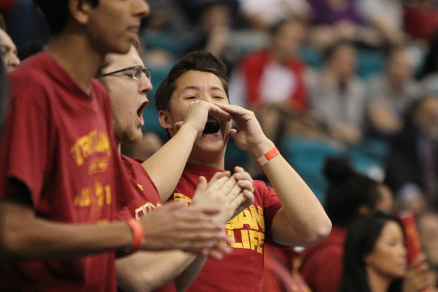 University of Southern California Trojans fans cheer for their team during their game against Arizona State Wildcats in the men's basketball Pac-12 tournament inside the MGM Grand casino-hotel in  ...