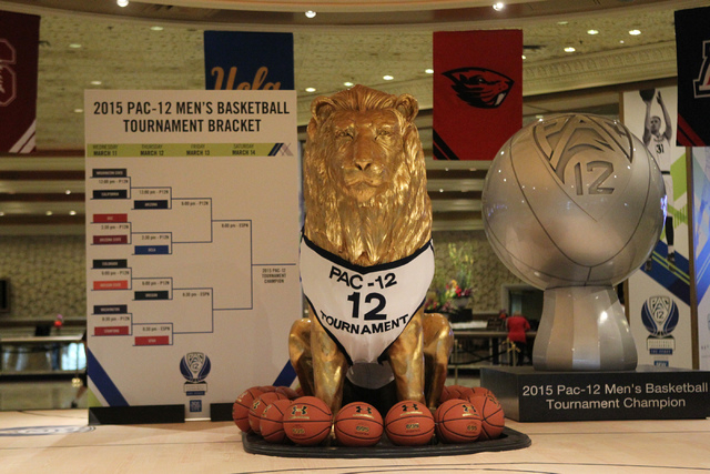 A Pac -12 gear decorated lion statue is seen at the lobby of the MGM Grand casino-hotel in Las Vegas Wednesday, March 11, 2015. The Pac -12 tournament is scheduled from March 11 to the 14. (Erik V ...