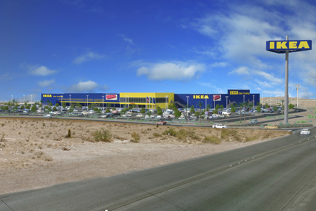 A rendering shows the proposed IKEA store at the 215 Beltway and Durango in southwest Las Vegas. (Courtesy)