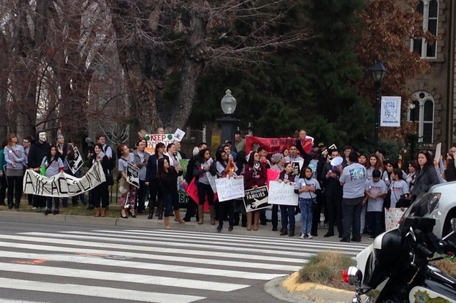 Protesters gather near the Nevada Legislature in Carson City at noon on Wednesday, March 5, 2015. (Courtesy, Jordan Haas)