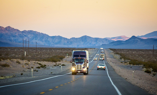 Traffic on U.S. 95  between Beatty and Lathrop Wells as seen on Friday, Dec. 20, 2013. Transportation officials are proposing Interstate 11 to connect Las Vegas and Reno.(Jeff Scheid/Las Vegas Rev ...