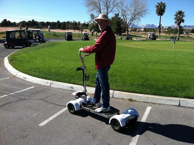 Sun City Summerlin resident Jerry Wilson models the GolfBoard on Feb. 25, 2015. (Special to View)