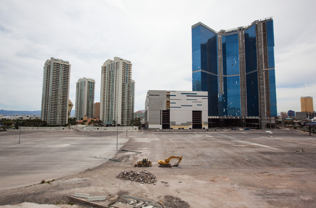 The lot which is slated to be developed into a $1.4 billion hotel and arena project is seen between Paradise Road and Las Vegas Boulevard, south of Sahara Avenue, in Las Vegas on Tuesday, March 17 ...