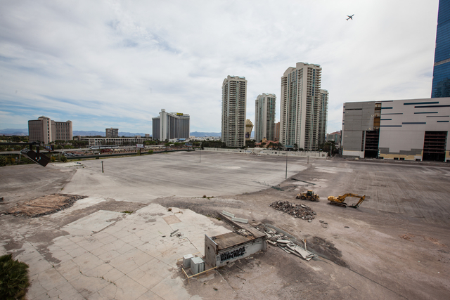 The lot which is slated to be developed into a $1.4 billion hotel and arena project is seen off of Paradise Road south of Sahara Avenue in Las Vegas on Tuesday, March 17, 2015. The project is led  ...