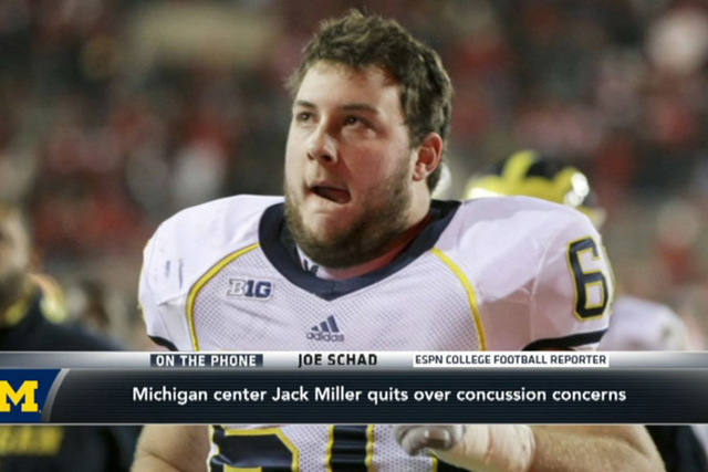 Former Michigan center Jack Miller gave up football before starting his senior season because he feared the effects of concussions. (Screengrab/ESPN)