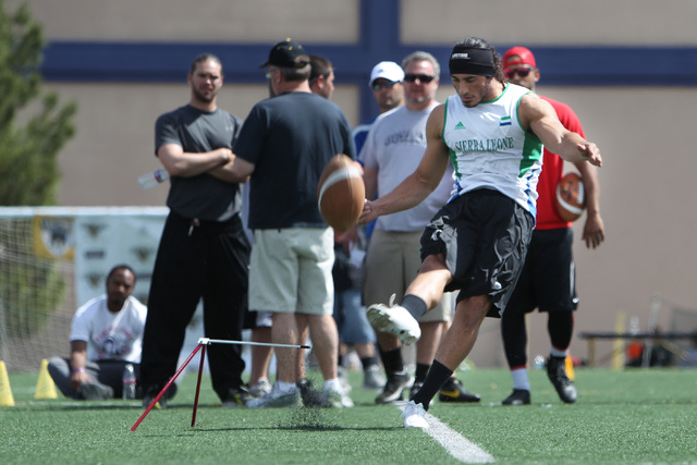 Ali Mourtada boots a field goal during an open tryout for the kicker position with the Las Vegas Outlaws Saturday, March 21, 2015. (Sam Morris/Las Vegas Review-Journal)