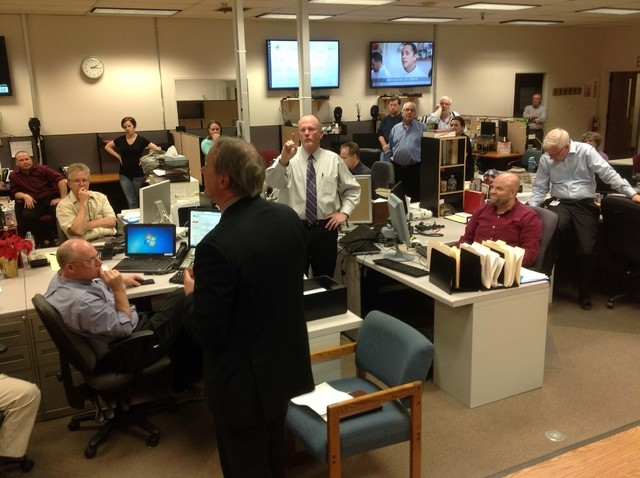 Gatehouse Media CEO Kirk Davis speaks to the newsroom staff at the Las Vegas Review-Journal on Wednesday, March 18, 2015. Davis announced the completion of the sale of Stephens Media to New Media  ...