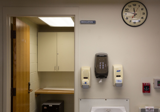 The nurses' station at Stein Hospital, a closed mental health hospital on the campus of Rawson-Neal Psychiatric Hospital, is photographed Friday, Jan. 23, 2015. (Samantha Clemens-Kerbs/Las Vegas R ...