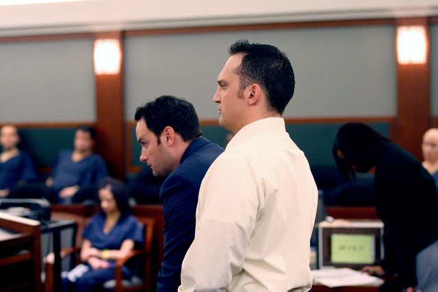 Former Henderson police officer, Joseph Lawrance, who plead guilty in a DUI case, is sentenced to up to four years probation by Judge Carolyn Ellsworth on Wednesday, March 11, 2015. (Michael Quine ...