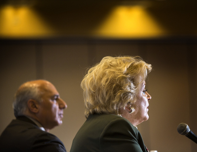 Councilman Stavros Anthony,left, and Mayor Carolyn Goodman during the Commercial Real Estate Development  Association luncheon mayor debate at The Orleans,  4500 West Tropicana, on Thursday,March  ...