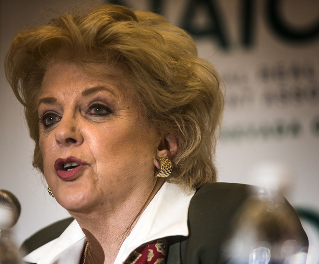 Mayor Carolyn Goodman speaks during the Commercial Real Estate Development  Association luncheon mayoral debate with Councilman Stavros Anthony  at The Orleans,  4500 West Tropicana, on Thursday,M ...