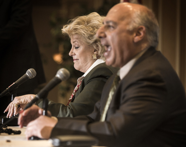 Mayor Carolyn Goodman,left, and Councilman Stavros Anthony  during the Commercial Real Estate Development  Association luncheon and mayoral debate at The Orleans,  4500 West Tropicana, on Thursday ...