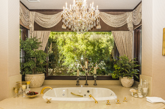 The serenity garden can be viewed from the master bath.  (John Kelly/Las Vegas Review-Journal)