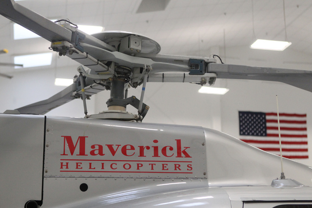 A Maverick Helicopter is seen at the Maverick facility at the Henderson Executive Airport in Henderson, 1620 Jet Stream Drive, Tuesday, Dec. 16, 2014. (Erik Verduzco/Las Vegas Review-Journal)