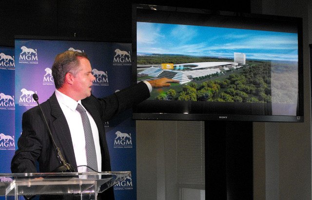 Jim Murren,  chairman and chief executive officer of MGM Resorts International,  unveils the design of the resort it is proposing to build overlooking the Potomac River in Prince George's County,  ...