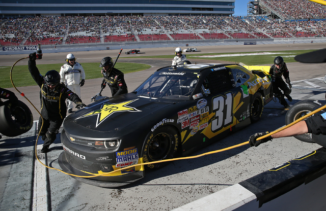Dylan Kwasniewski makes a pit stop during the NASCAR Boyd Gaming 300 race at the Las Vegas Motor Speedway on Saturday. (John Locher/Las Vegas Review-Journal)