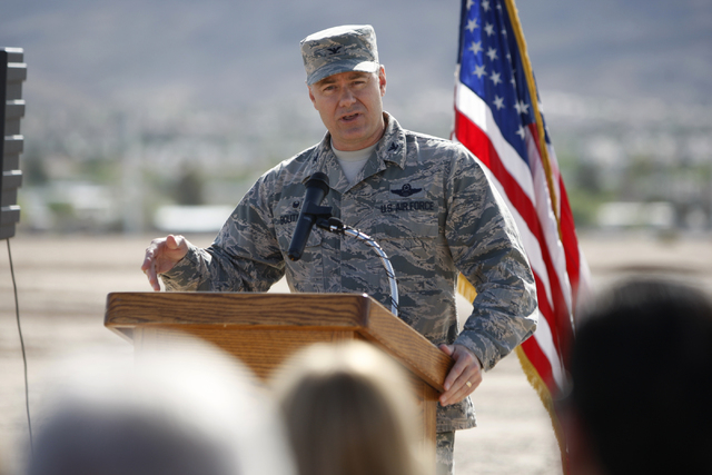U.S. Air Force Col. Richard Boutwell speaks during a ground breaking ceremony for the Nellis Solar Array II project at Nellis Air Force Base in Las Vegas Tuesday, March 24, 2015. The 15 megawatt p ...