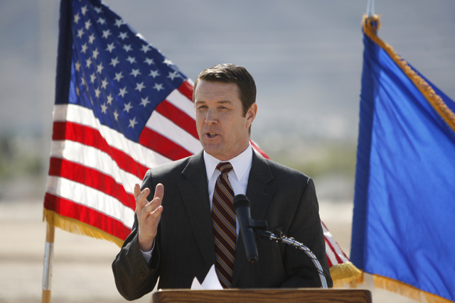 Patrick Egan, senior vice president for NV Energy, speaks during a ground breaking ceremony for the Nellis Solar Array II project at Nellis Air Force Base in Las Vegas Tuesday, March 24, 2015. The ...