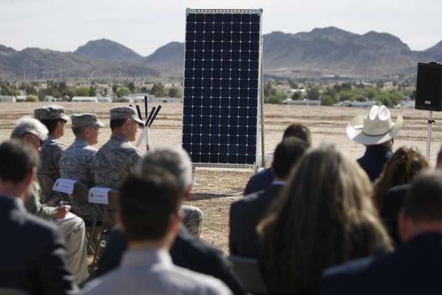 A solar panel is seen during a ground breaking ceremony for the Nellis Solar Array II project at Nellis Air Force Base in Las Vegas Tuesday, March 24, 2015. The 15 megawatt panels designed by SunP ...