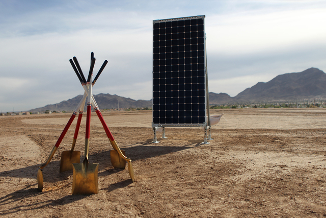 The future 102-acre site for solar panels is seen during a ground breaking ceremony for the Nellis Solar Array II project at Nellis Air Force Base in Las Vegas Tuesday, March 24, 2015. The 15 mega ...