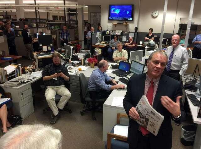 Kirk Davis, CEO of New Media operating arm GateHouse media, announces Wednesday, March 18, 2015, that his company has closed on the $102.5 million cash purchase of the Las Vegas Review-Journalճ p ...