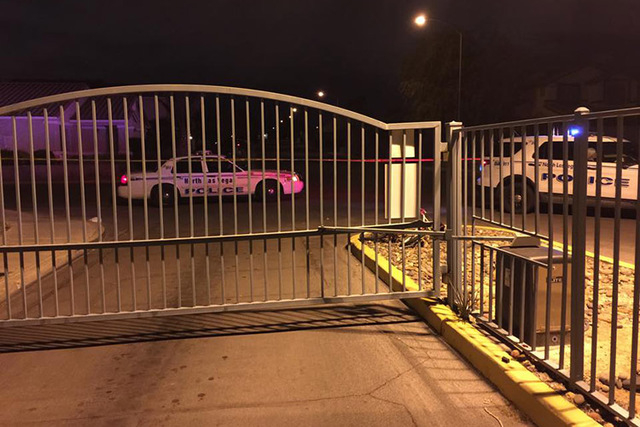 An 8-year-old North Las Vegas boy died after becoming stuck in an automatic gate at the Village at Craig Ranch community on Tuesday night, March 3, 2015. (Courtesy/North Las Vegas Police Department)
