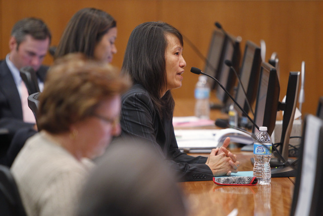 Dr. Qiong Liu answers questions during an interview for the position of North Las Vegas city manager Wednesday, Oct. 29, 2014, in North Las Vegas. (Sam Morris/Las Vegas Review-Journal)