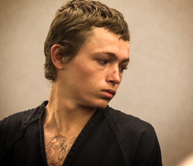 Erich Nowsch makes his initial appearance in court on Monday, Feb. 23, 2015, at the Regional Justice Center. The 19-year-old is charged with murder in the  shooting death of Tammy Meyers, 44. (Jef ...