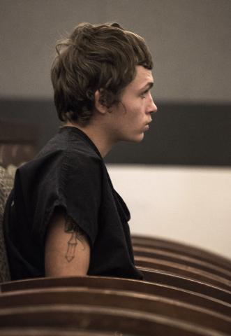 Erich Nowsch appears in Regional Justice Center, 200 Lewis Avenue., on March 26 2015 The  19-year-old plead not guilty in  with in the shooting death of Tammy Meyers, 44.  (Jeff Scheid/Las Vegas R ...