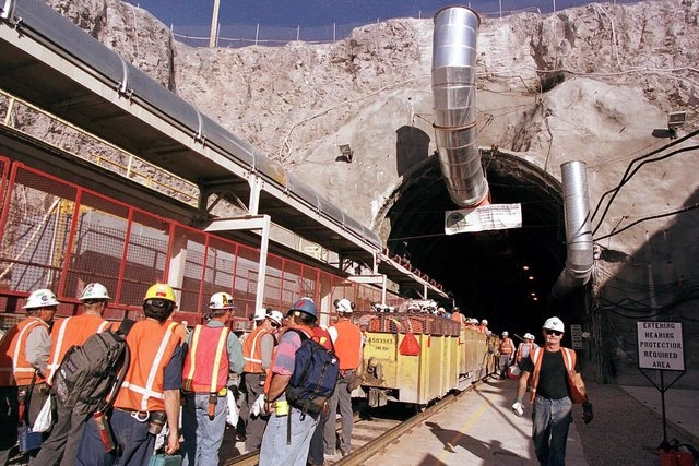 Workers at the Yucca Mountain Project begin their day at the tunnel's entrance, in this May 9, 2000 file photo.
