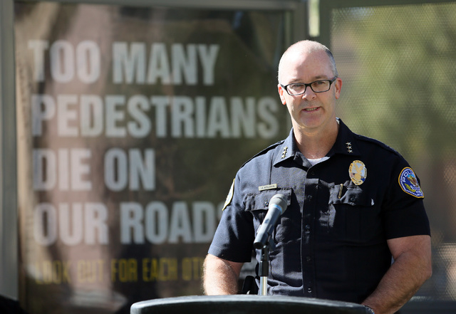 City of Henderson Deputy Police Chief Jeffrey Stilson speaks during a news conference on pedestrian safety efforts Thursday, March 5, 2015, in Henderson. (Ronda Churchill/Las Vegas Review-Journal)