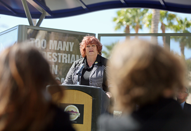 Erin Breen, director of UNLV's Vulnerable Road Users Project, speaks during a news conference on pedestrian safety efforts Thursday, March 5, 2015, in Henderson. Regional Transportation Commission ...